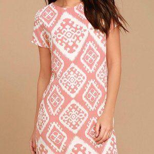 Lulus Pink & White Patterned Shift Dress